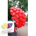 Пучок красных сердец из шаров
