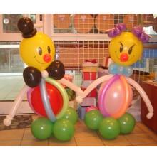 """Фигуры """"Девочка и мальчик"""" из воздушных шаров"""