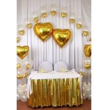 Золотые фольгированные сердца