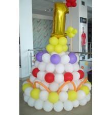 Фольгированная цифра на стойке из шаров