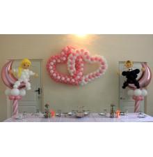 Два сердца + свадебные фигуры из шаров