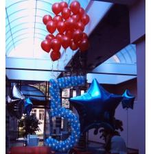 """Цифра """"5"""" из гирлянды с гелиевыми шариками"""