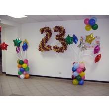 """Цифры из шаров """"23"""" + стойки из шариков со звездами"""