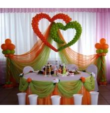 Оформление свадьбы шарами и тканями