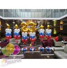 Композиция из воздушных шаров на 23 февраля №3