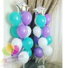 Фонтан из шаров с фольгированными звездами