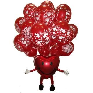Композиция из воздушных шаров на день Святого Валентина