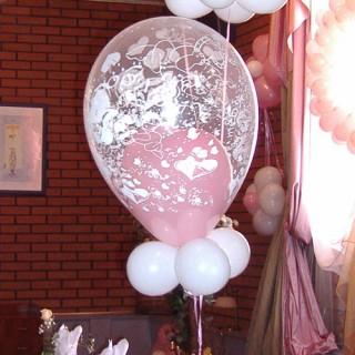 Розовое сердце в шаре с принтом