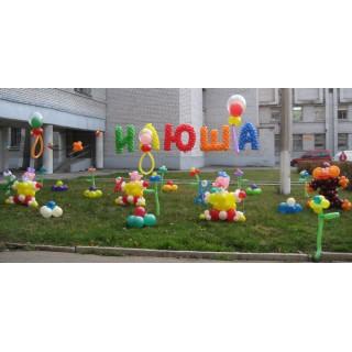 """Композиция из шариков """"Встреча из роддома"""""""