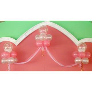 Украшение из ткани и шаров на свадьбу
