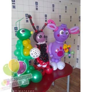 Лунтик и Кузя из воздушных шаров