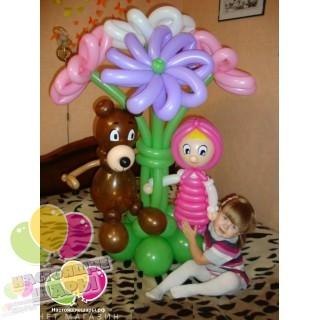 Букет с фигурами Маша и Медведь
